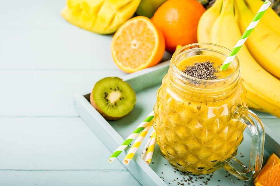 Batidos de frutas tropicales.