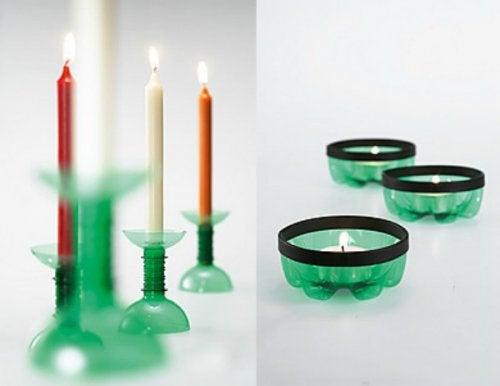 Podemos elaborar candelabros a partir de elementos reciclables.