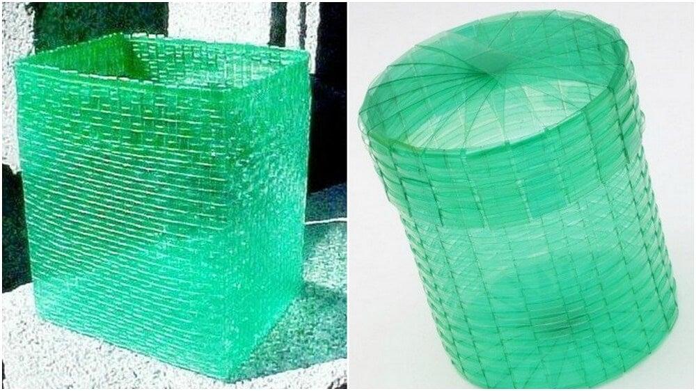 Los cestos con botellas de plásticos contribuyen a salvaguardar el medioambiente.