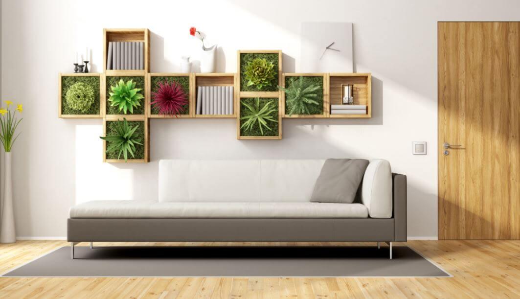 Salón con plantas en la pared: decoración ecológica
