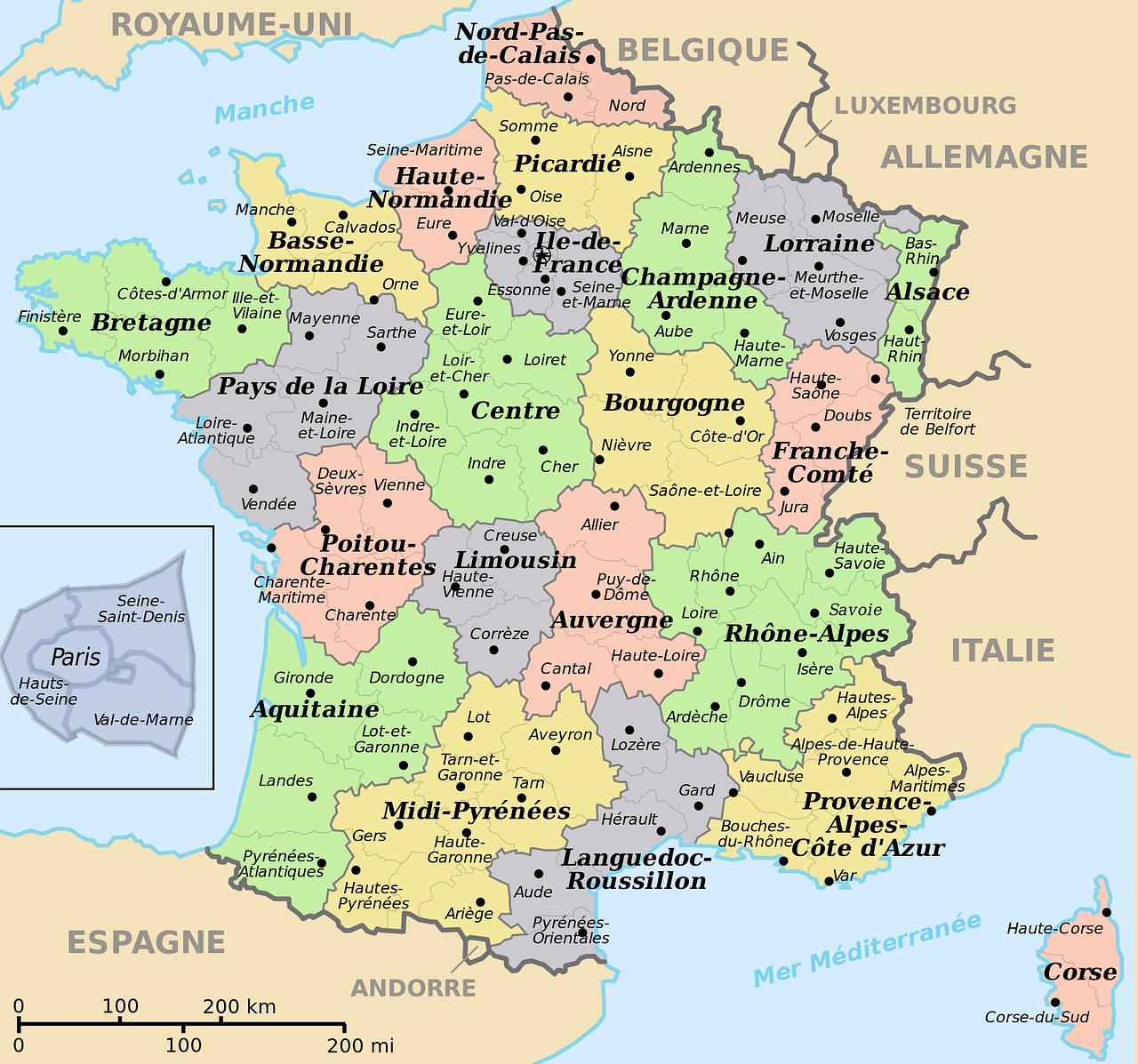 Mapa de Francia.
