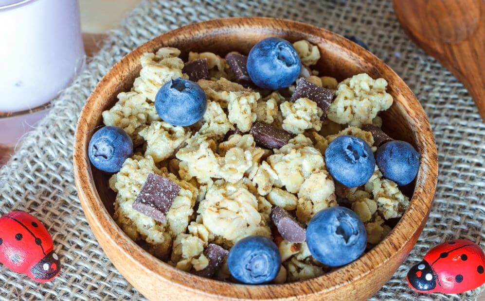 Receta de granola con arandanos.