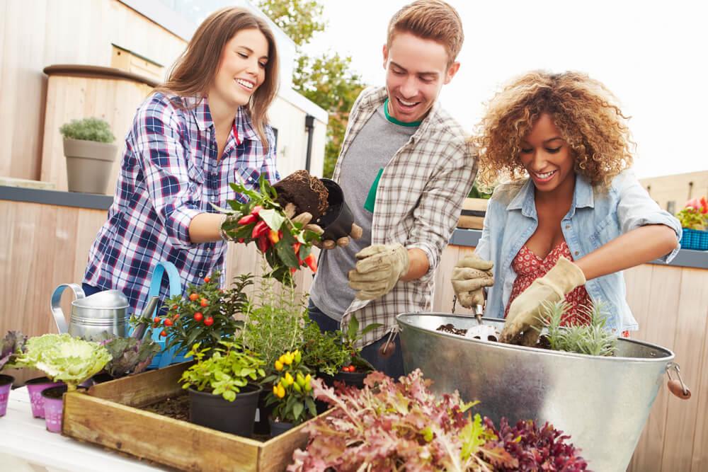 Es posible decorar un jardín con elementos reciclados.