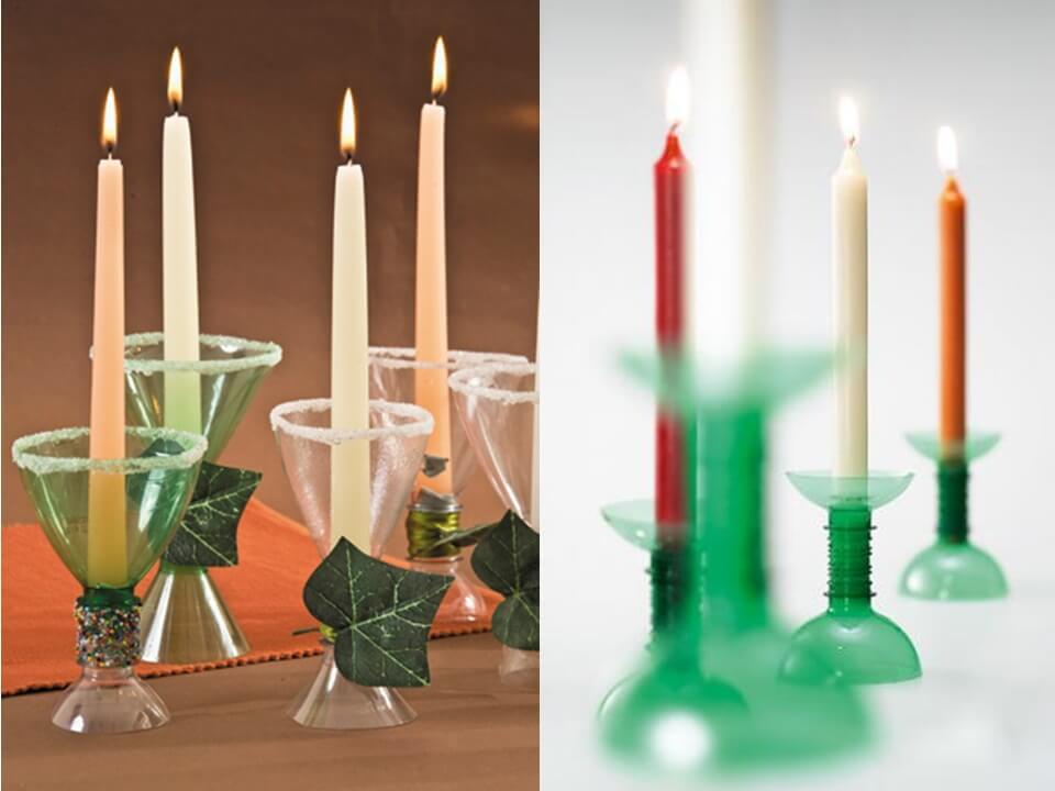 Los candelabros con plástico sirven para decorar el salón.