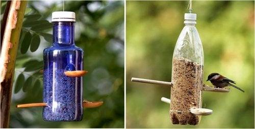 A partir de una botella de plástico podemos crear un comedero para pájaros.