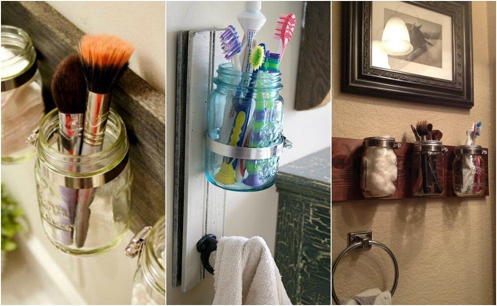 Portacepillos con frascos de vidrio para decorar un baño