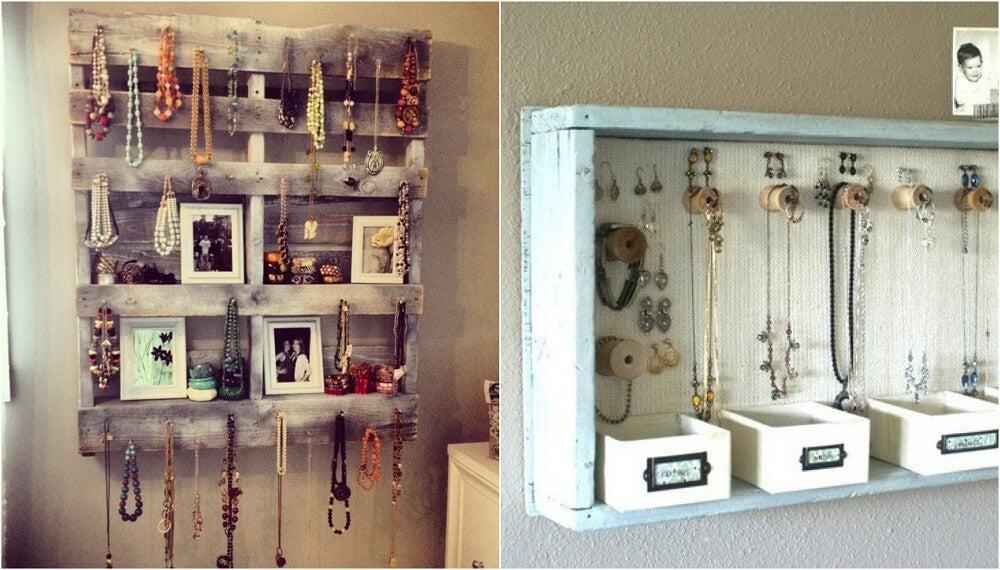 Los palets son una alternativa vintage para decorar tu casa y organizar tu bisutería.
