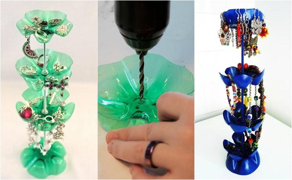 Las botellas plásticas también pueden usarse para hacer joyeros artesanales.