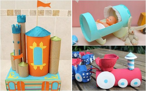 Juguetes para niños con tubos de cartón: Cuna para muñeca, trenes y castillo.