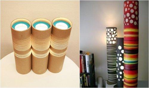 Lámpara con tubos de papel higiénico