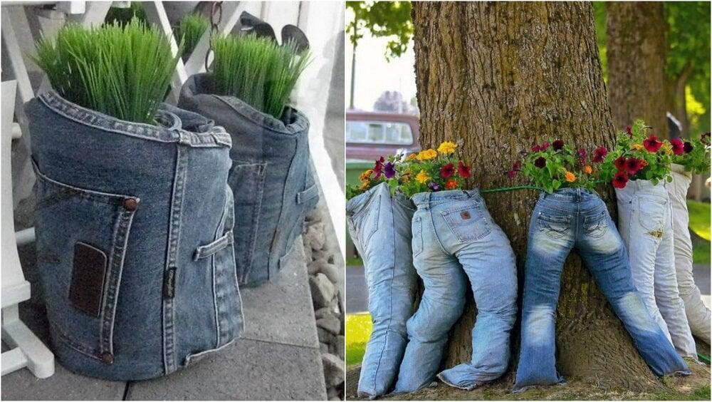 Reciclar vaqueros viejos las mejores 10 ideas mejor con salud - Jardineras de madera caseras ...