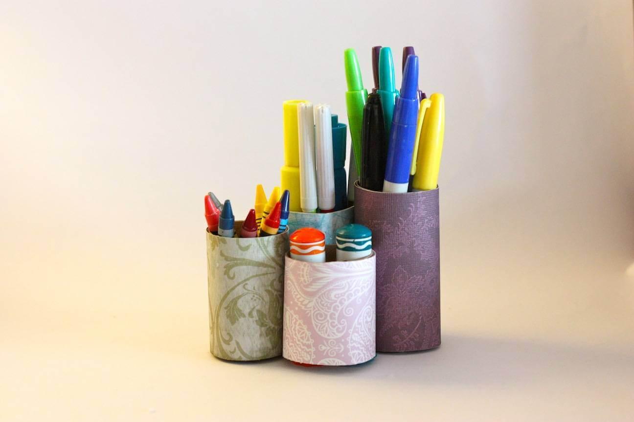 Porta lápices de tubos de papel higiénico