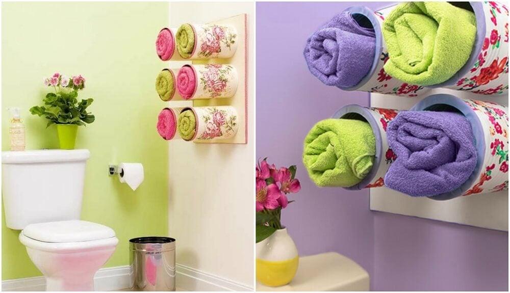 Pode reciclar latas para decorar o banheiro