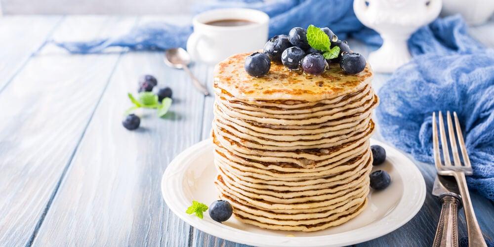 Tortitas con arándanos bajas en calorías
