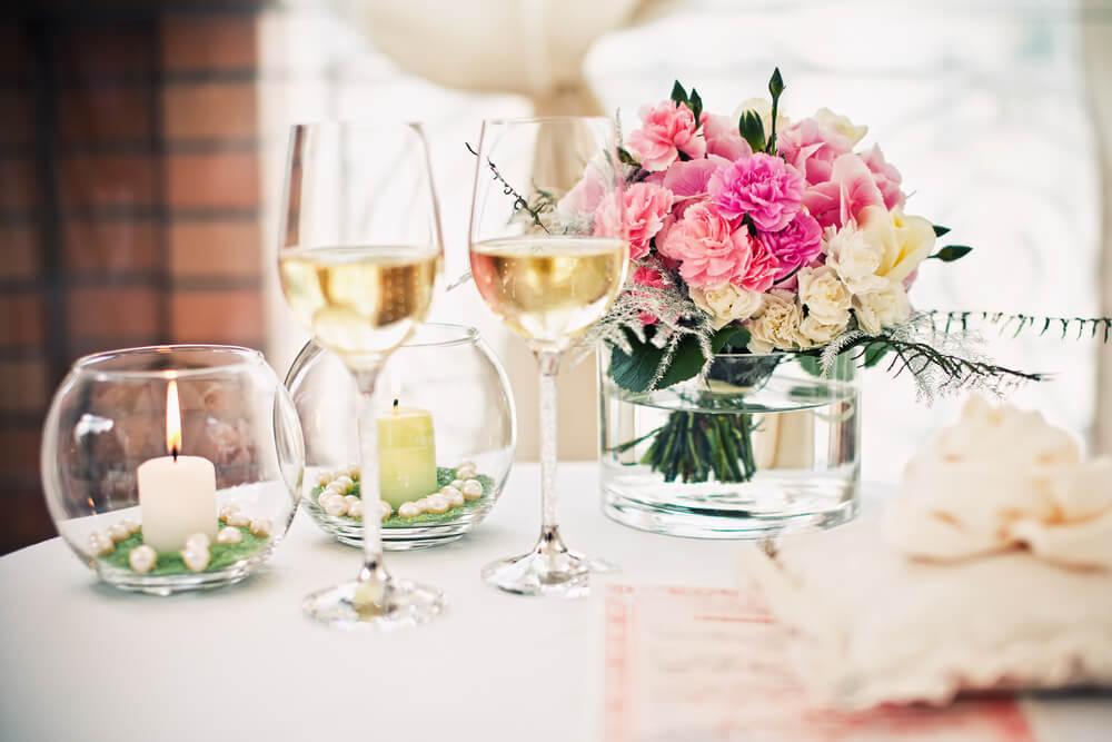 Centro de mesa de una boda.