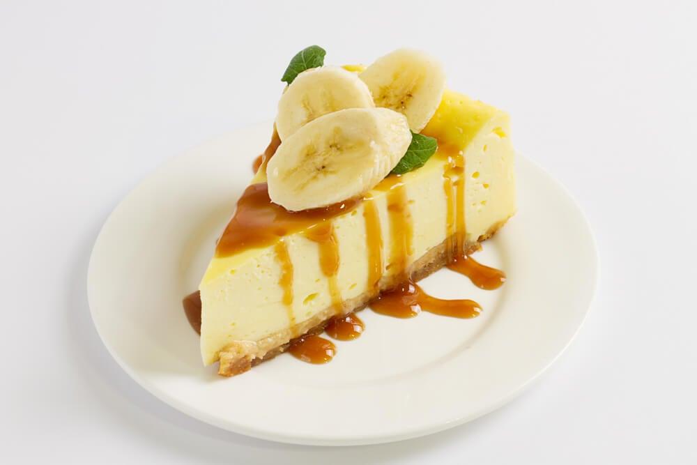 Tarta de queso con banana con ingredientes veganos