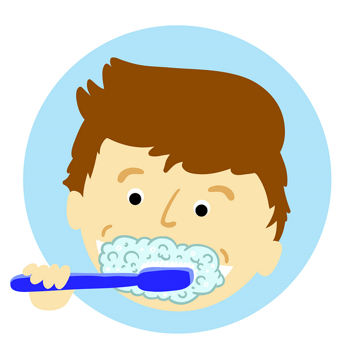 Dibujo de un niño lavándose los dientes.