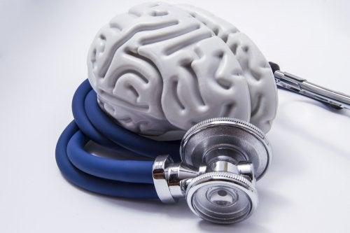 Representación de cerebro con un estetoscopio
