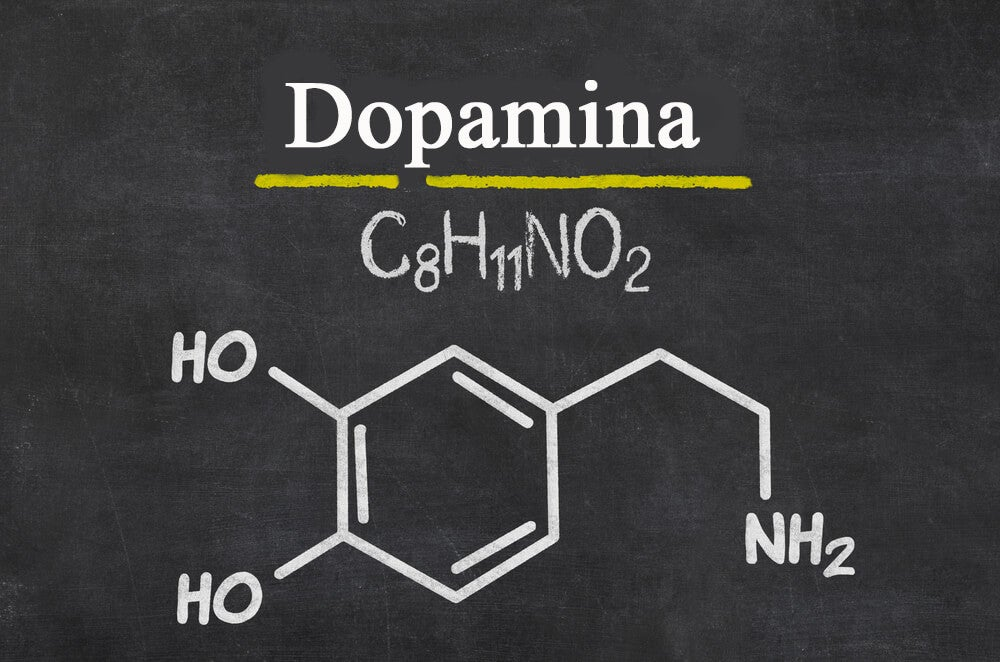 Fórmula química de la dopamina.