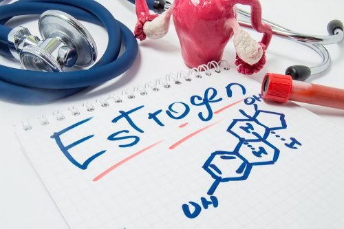 Estructura química del estrógeno con material médico
