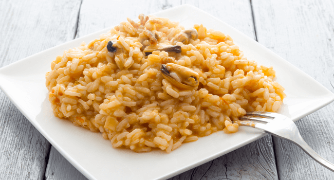 Arroz con productos de mar.
