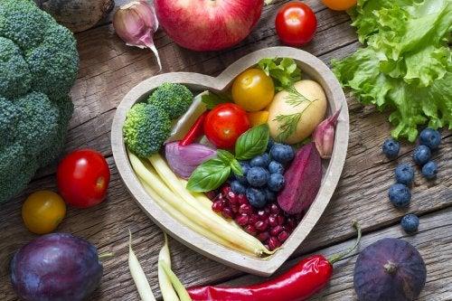 verduras en forma de corazón