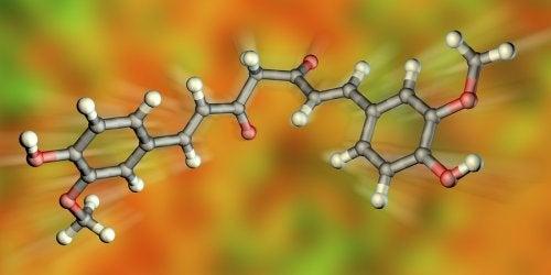 Molécula de la curcumina en 3D.