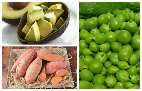 Receta con batata, guisantes y aguacate.