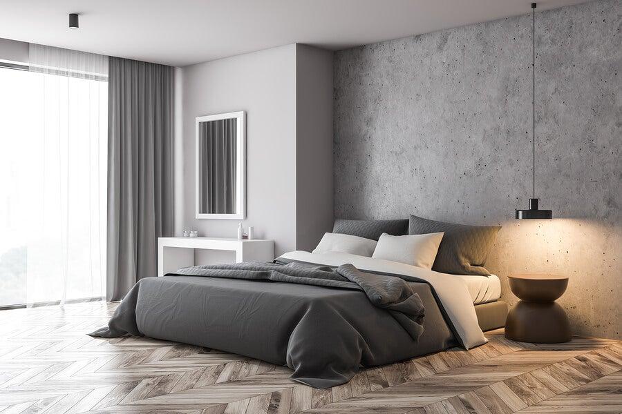 Habitación con decoración gris.