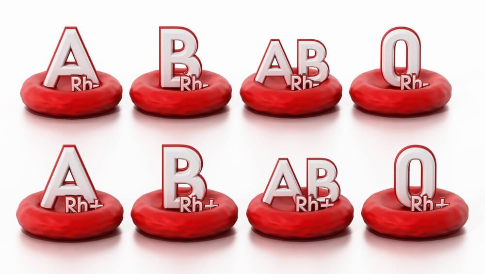 Gotas con diferentes tipos de sangre.