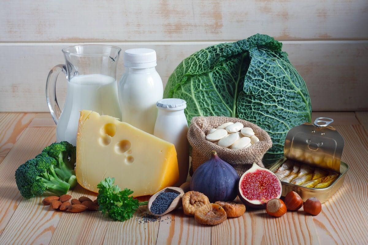 Alimentos ricos en proteínas y calcio.