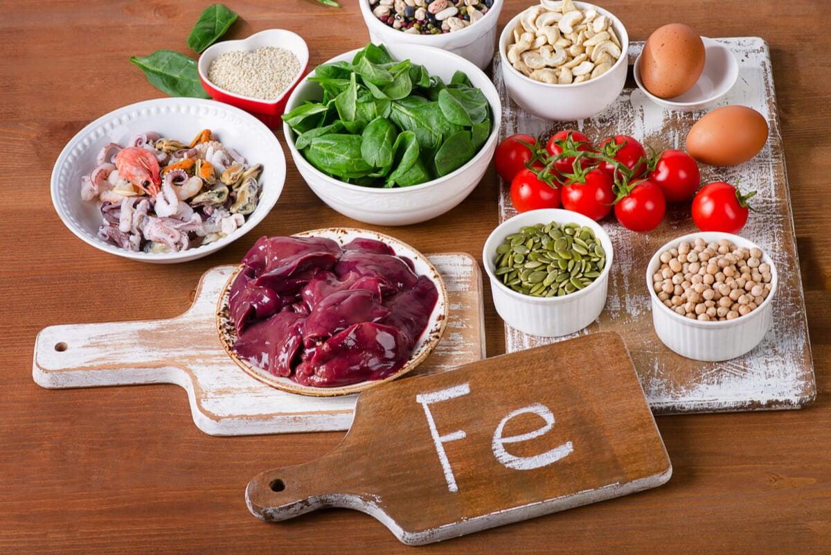 Alimentos con hierro para la anemia.