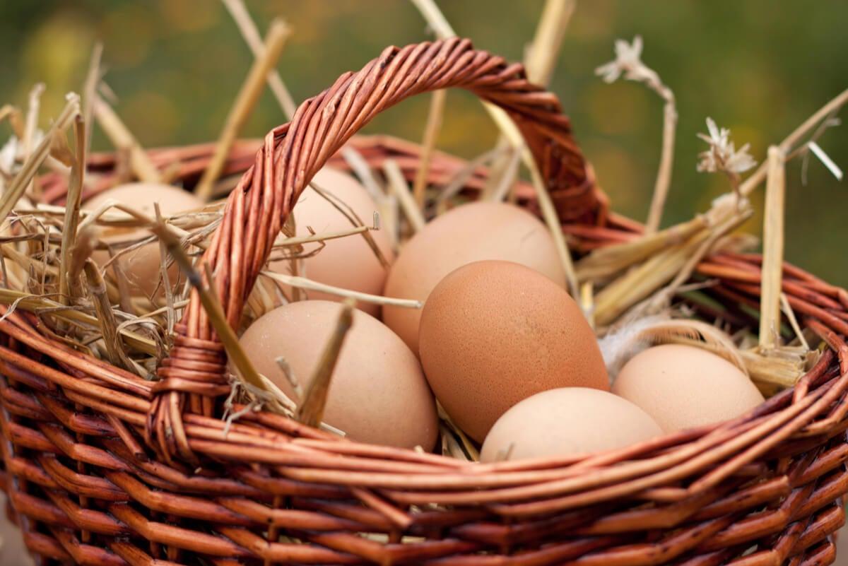 Canasta con huevos.