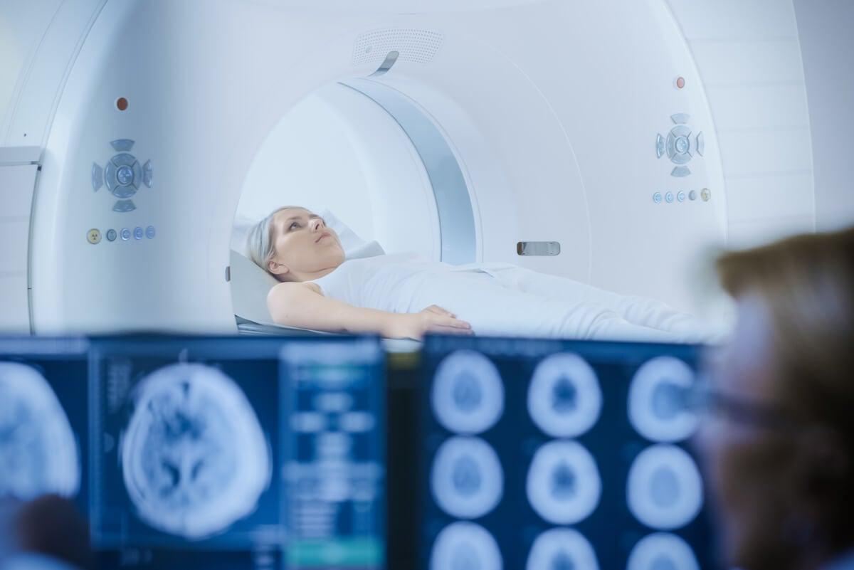 Paciente oncológica en radioterapia.