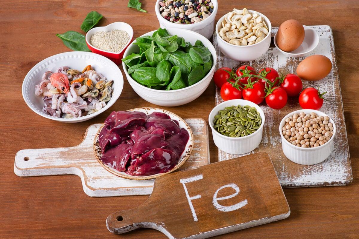 Alimentos con hierro para prevenir la anemia.
