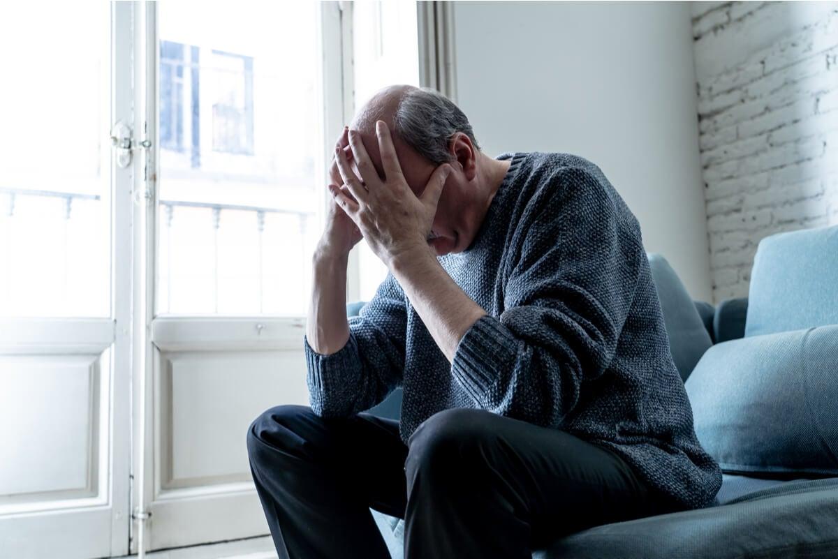 Depresión en un hombre.