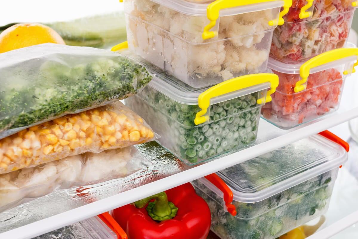 Organización de los vegetales congelados.