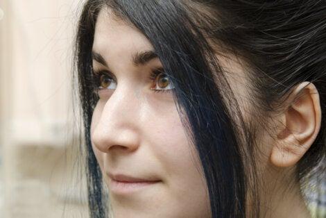 Perfil de nariz de mujer.