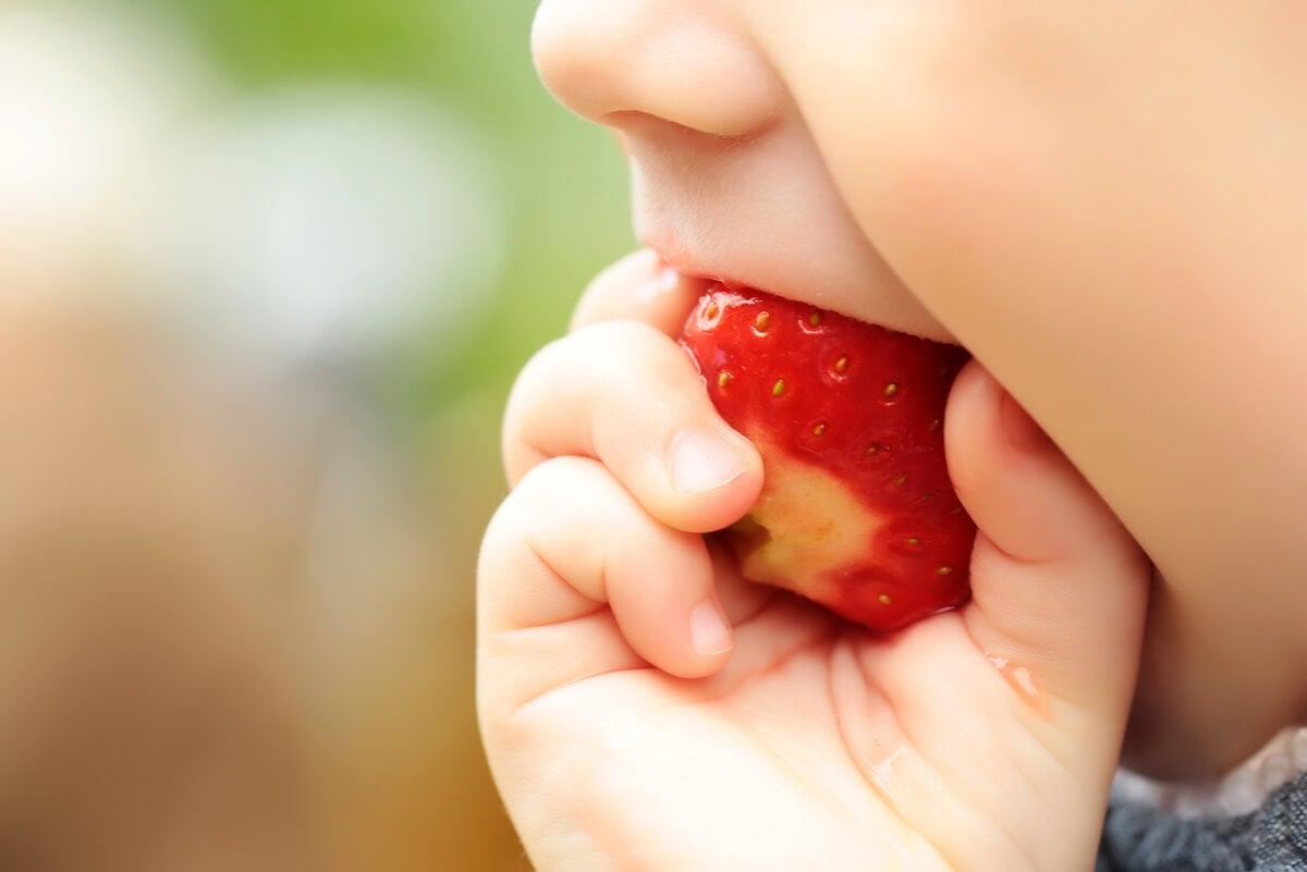 Bebé lleva comida a la boca.