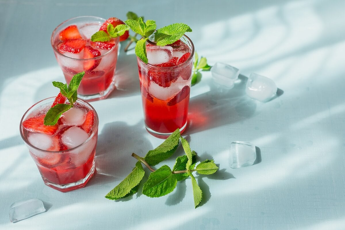 Cóctel de fresa sin alcohol