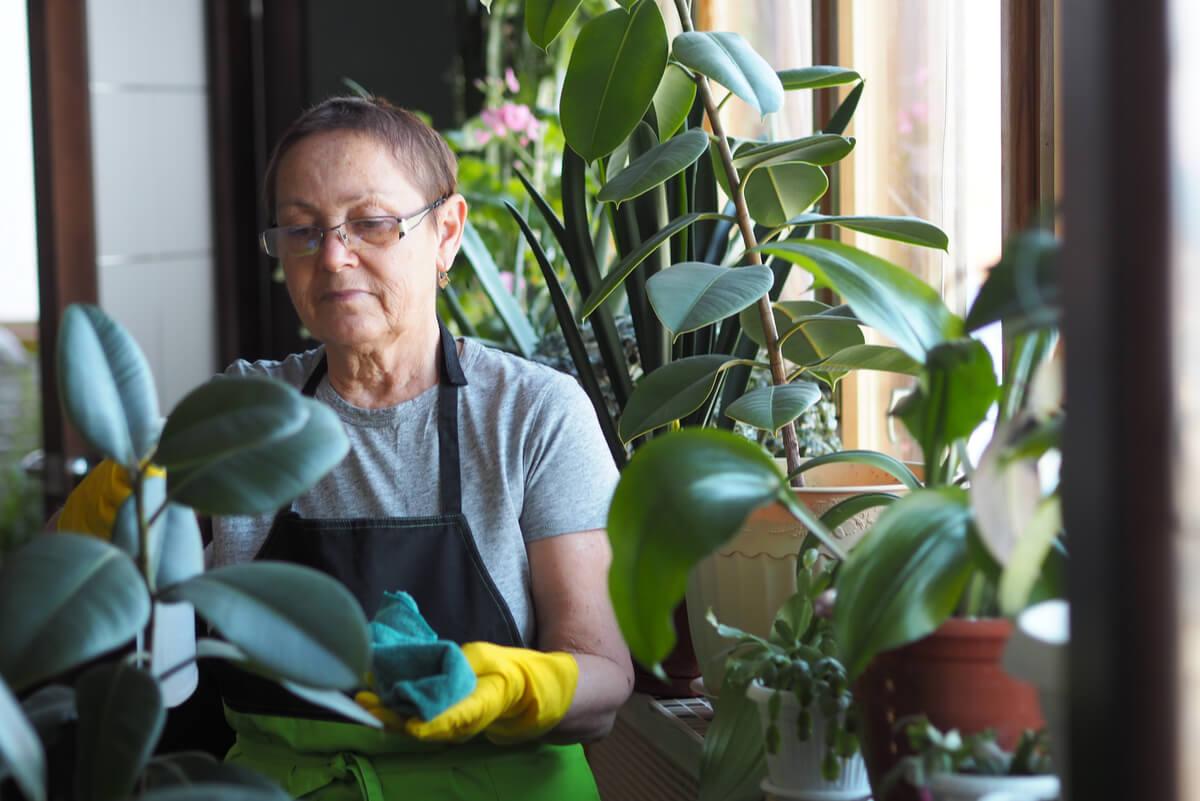 Mujer mayor realiza proyectos personales tras separarse.