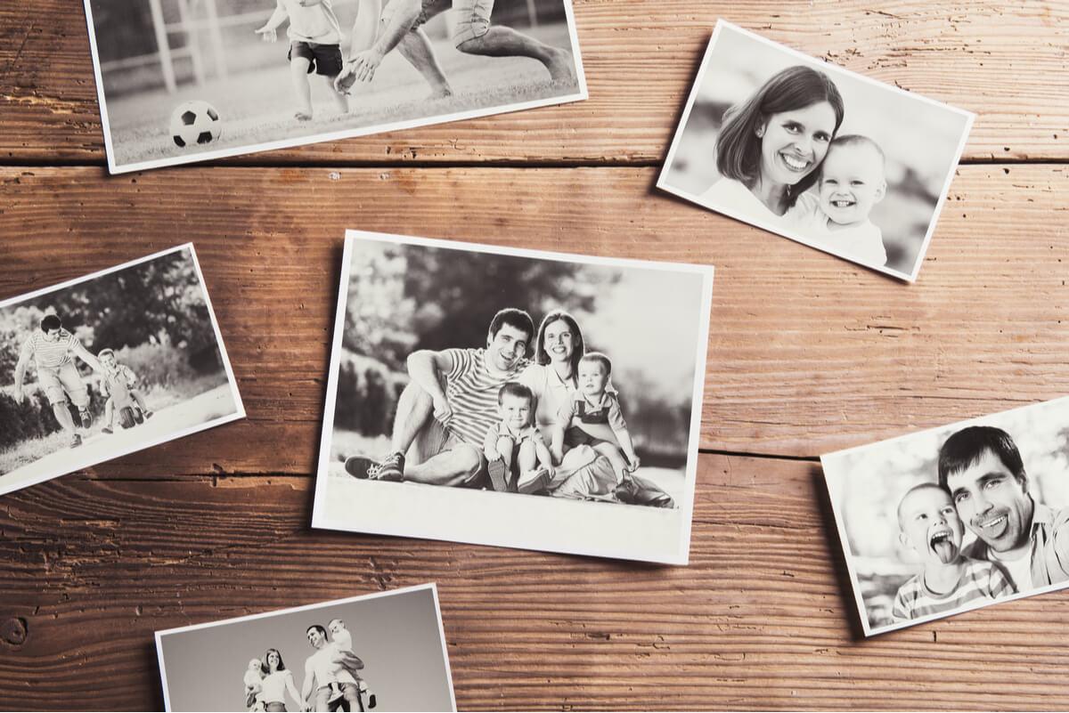 Fotos familiares en blanco y negro.