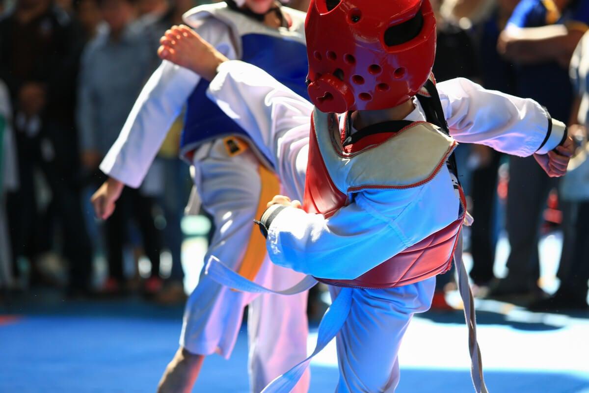 Práctica de taekwondo.