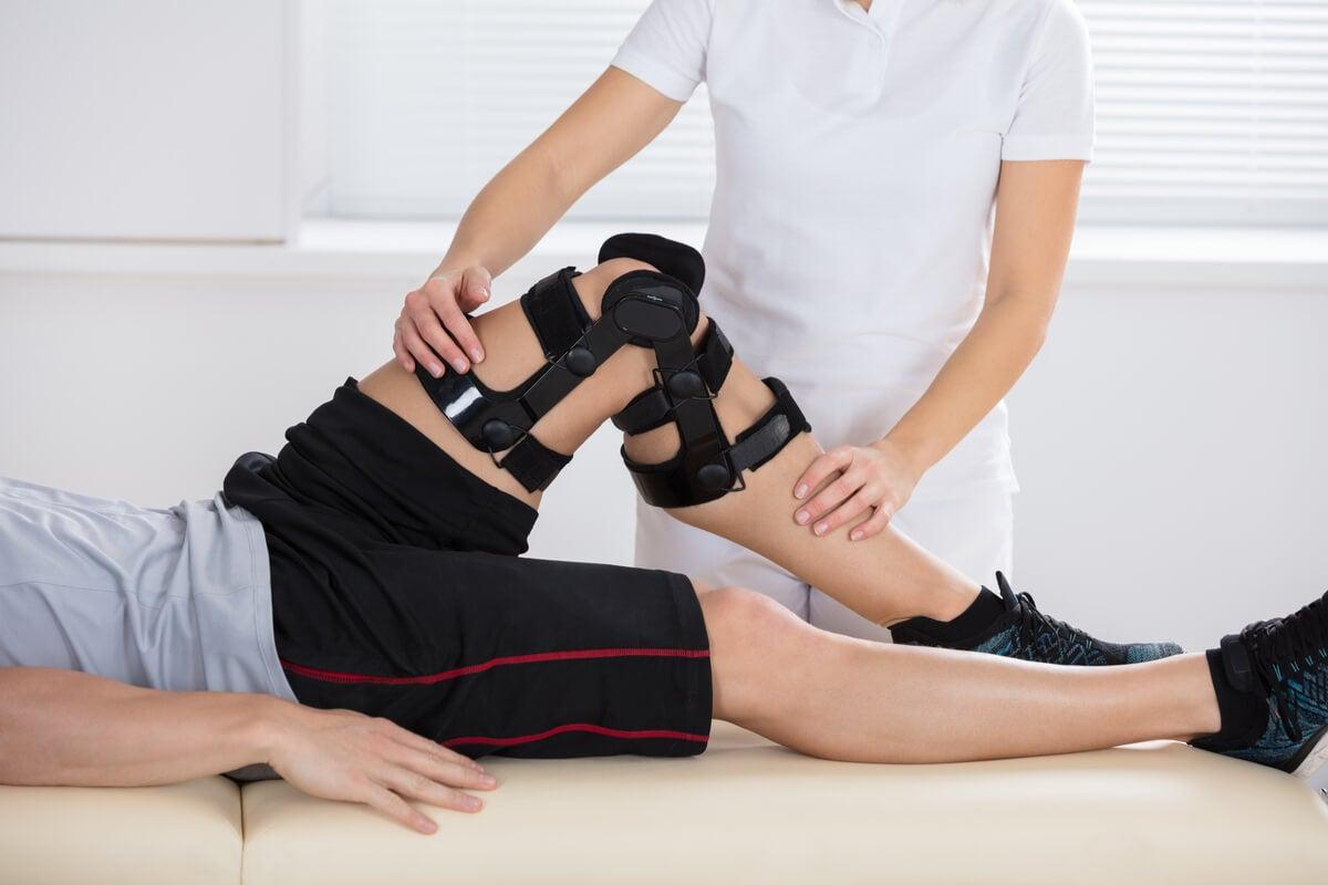 Rehabilitación física de rodilla.