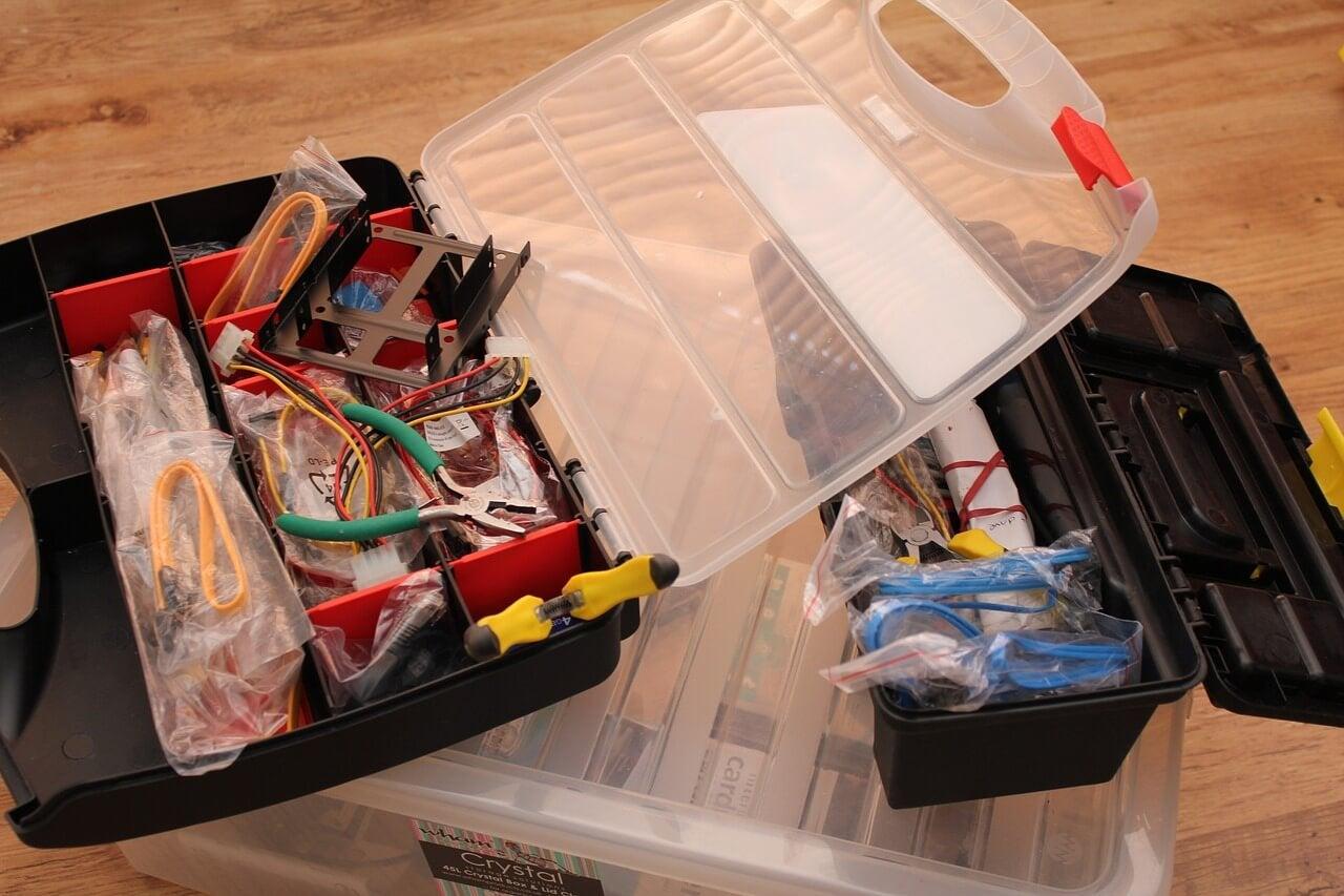 Caja de herramientas para bricolaje.