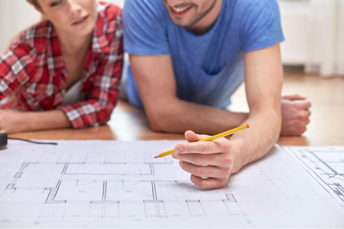 Plano de una casa para medir la vivienda.