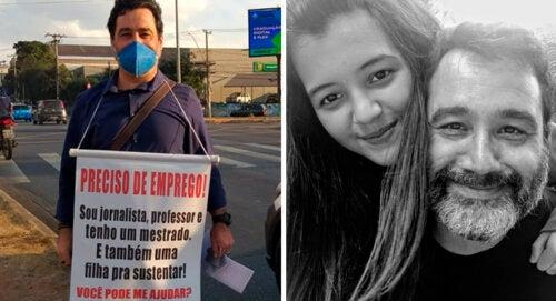 """""""Tengo una hija  que mantener"""" su padre desempleado sale a la calle repartiendo dulces y currículum en el semáforo"""