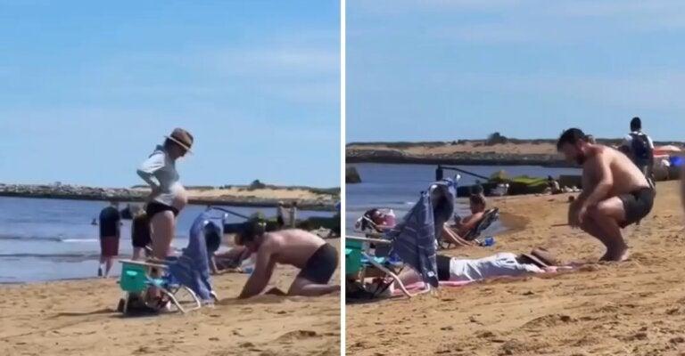 Amor en los detalles: cavó hoyo en la arena para que su esposa embarazada pudiera acostarse